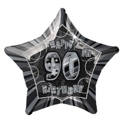Dazzling Effects 90th Birthday Star Shaped Balloon - Black