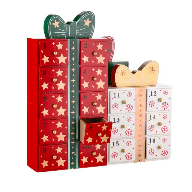 Advent Calendar - Gift Box With Drawers Wood