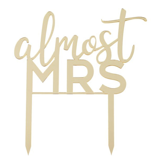 Botanical Hen Party - Almost Mrs - Gold Cake Topper