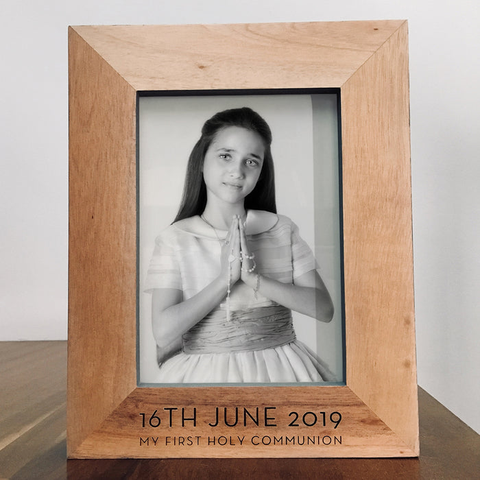 Holy Communion Wooden Photo Frame With Grey Edges - 16th June 2019