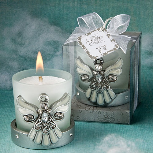 Angel Glass Candle Holder with Pearl Finish