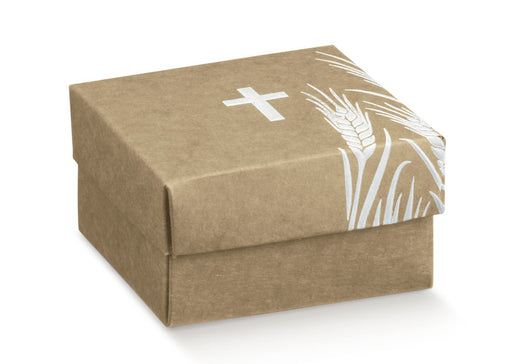 Box with Lid - Kraft Cross & Wheat in White 60x60x35
