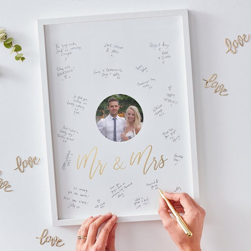 Mr and Mrs Alternative Guest Book Frame - Gold Wedding