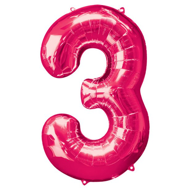 Balloon Foil Number - 3 Pink - 34""