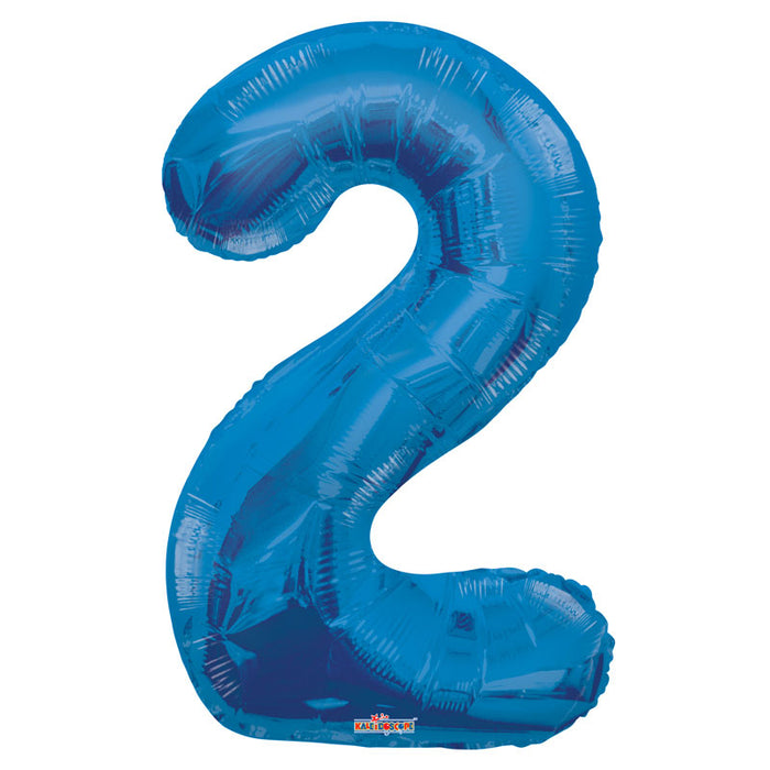 Balloon Foil Number - 2 Blue - 34""