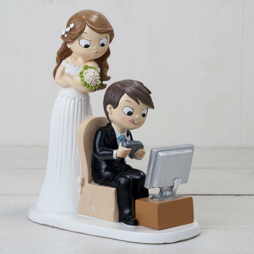 Cake Topper - Groom Playing Video Games while Bride waits