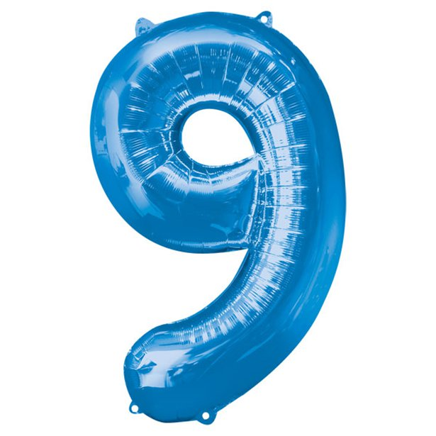 Balloon Foil Number - 9 Blue - 34""