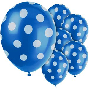 Blue Decorative Polka Dots Balloons - Latex