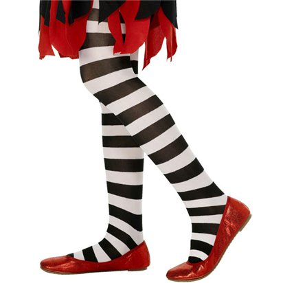 Childrens Tights - Striped White - Age 6-12Yrs