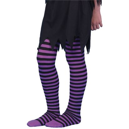 Childrens Tights - Striped Purple - Age 6-12Yrs