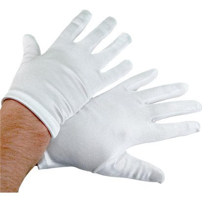 Deluxe White Satin Santa Gloves