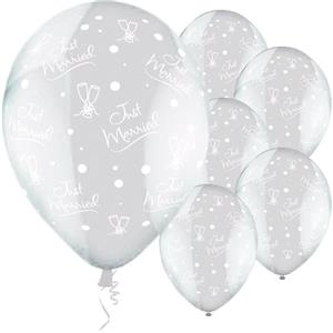 Balloons Latex - Clear - Just Married Champagne Glasses Clear Design - 11''