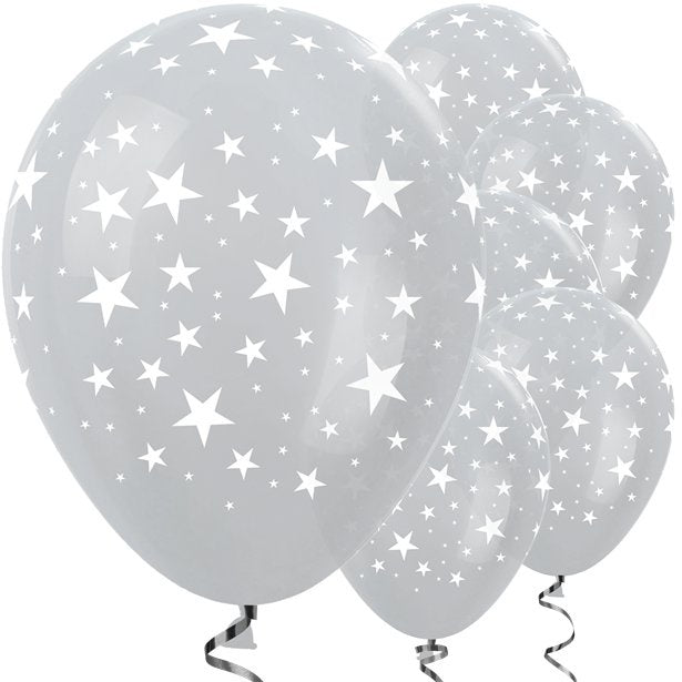 Balloon Latex - Pearl Silver with White Stars - 12''