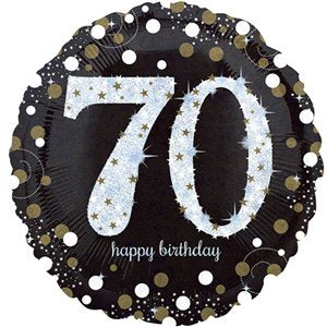 Balloon Foil Round Shape - Gold Sparkling Celebration - Happy 70th Birthday