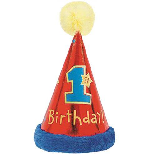 All Aboard 1st Birthday Faux Fur Cone Hat