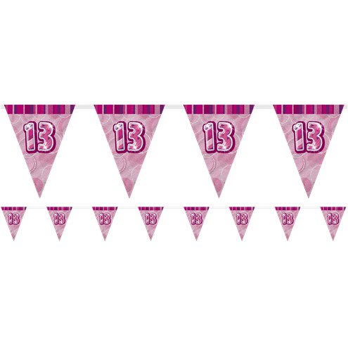 13th Birthday Pink Flag Banner - Plastic 2.75m