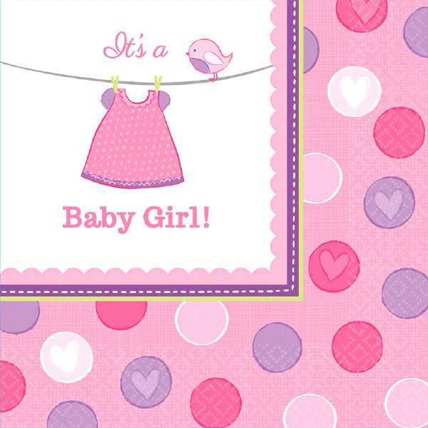 Girl's Shower With Love Luncheon Napkins - 2ply Pa