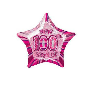 Dazzling Effects 100th Birthday Pink Star Shaped Balloon