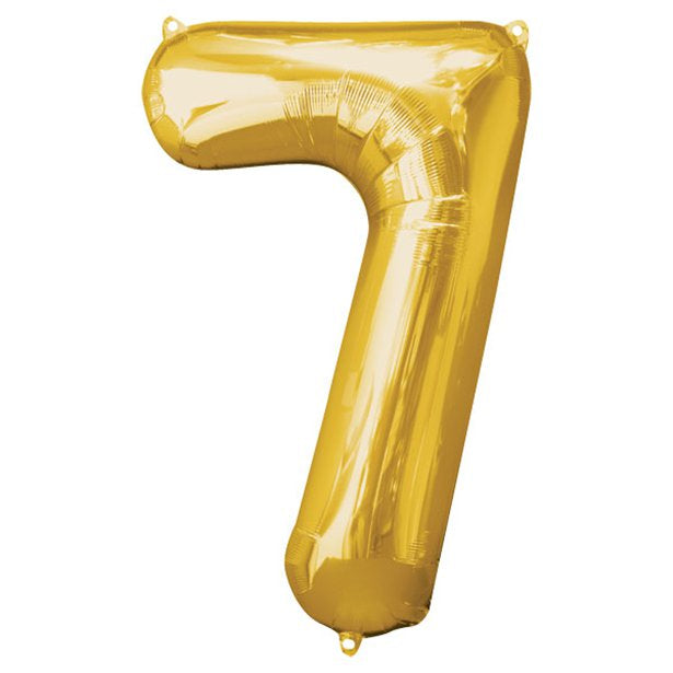 Balloon Foil Number - 7 Gold  - 34""