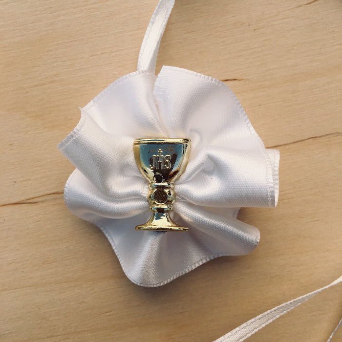 Domna for Girls - White Satin with Gold Chalice