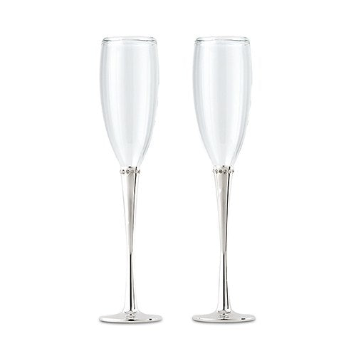 Silver And Rhinestone Wedding Champagne Glasses