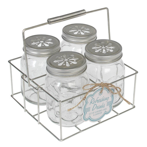Drinking Jars With Carrier - Set of 4