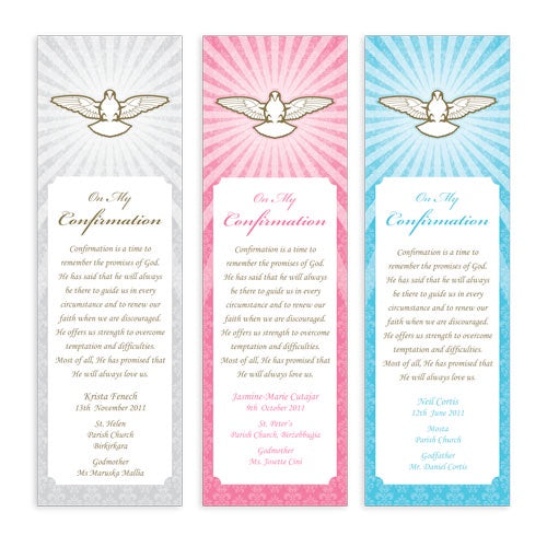 Bookmarks Personalized - Confirmation - Dove with Rays - BMKCON0009