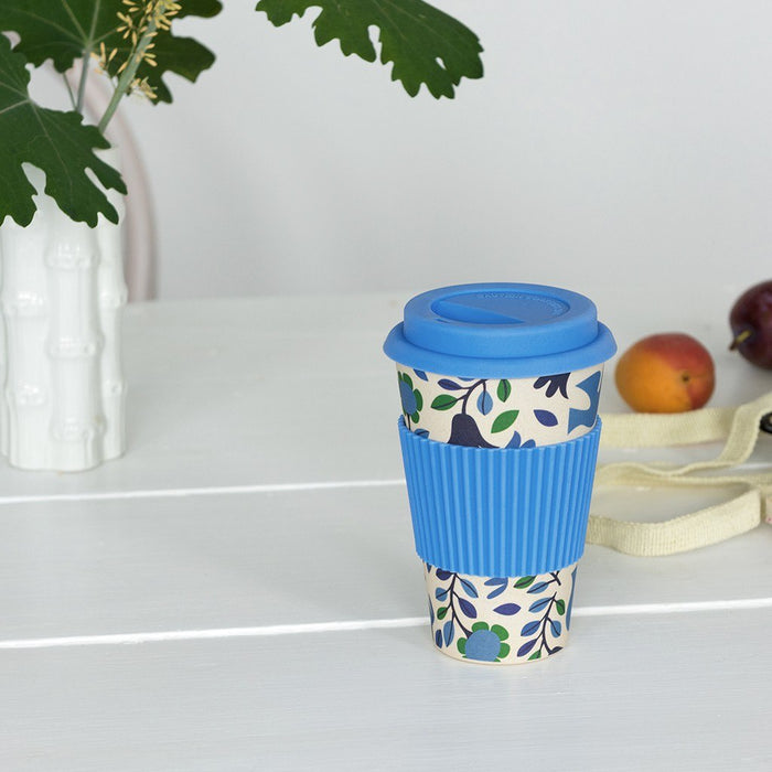 Folk Doves Bamboo Travel Mug