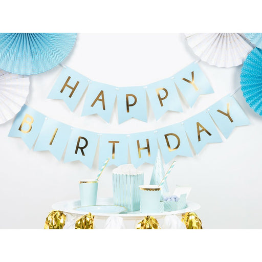 Banner - Light Blue - Happy Birthday - 2.5m