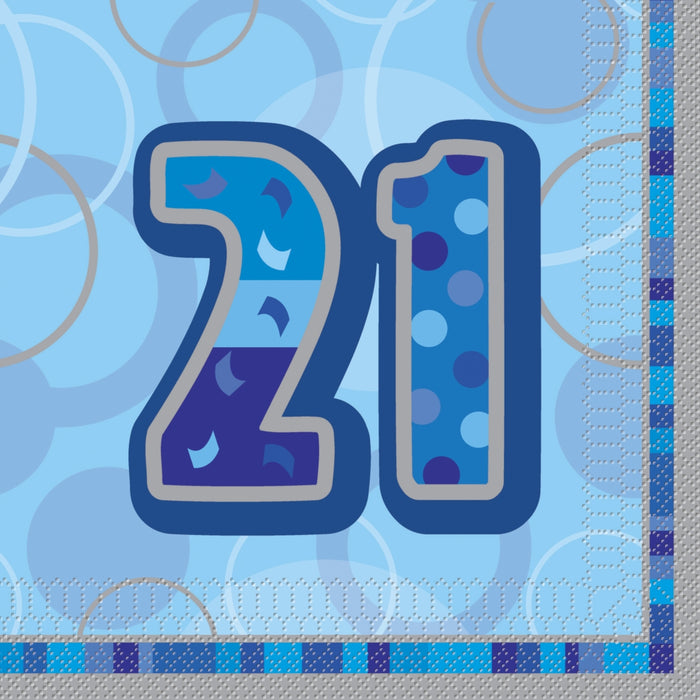 21st Birthday Blue Luncheon Napkins - 3Ply Paper