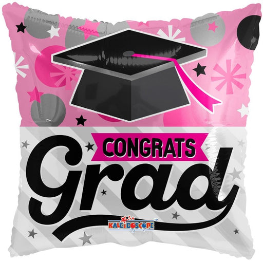 Balloon Foil Square Shape - Graduation Pink - 18''