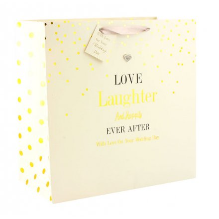 Wedding Gift Bag - Mad Dots Design - Love Laughter and Happily Ever After
