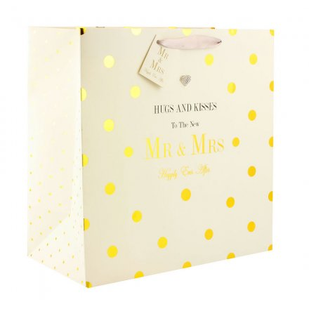 Wedding Gift Bag - Mad Dots Design - Hugs and Kisses to the New Mr and Mrs