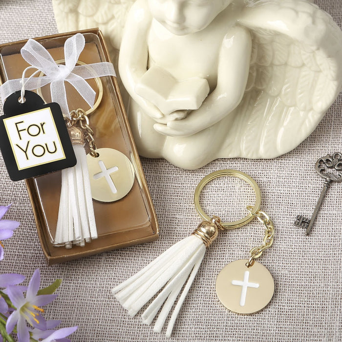DC Gold Metal Cross Themed White Tassel Key Chain