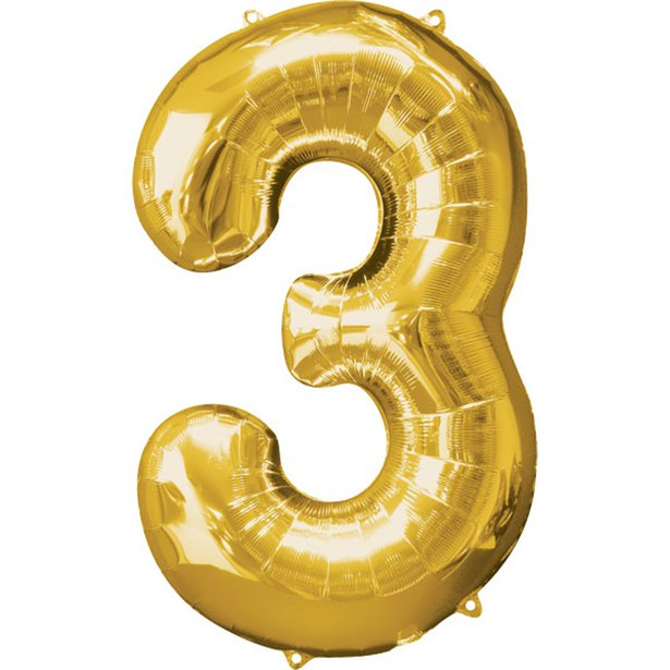 Balloon Foil Number - 3 Gold - 34""