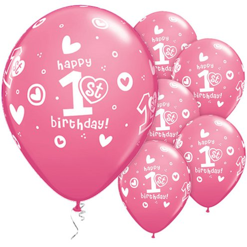 Latex 11'' Round 1st Birthday Circle Hearts-Girl Pink Balloons