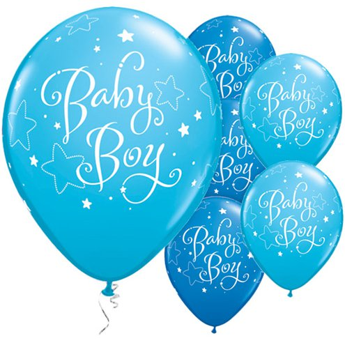 "Baby Boy Stars Blue Balloons - 11"" Latexbaby shower"