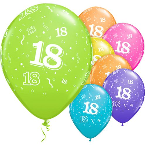 Latex Balloons 11'' 18th Around Assortment