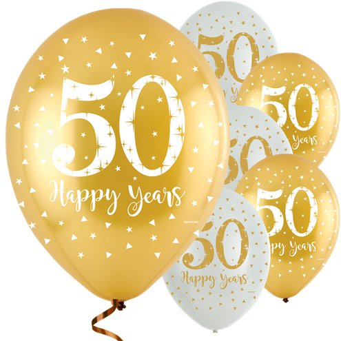 'Happy 50 Years' Golden Anniversary Latex Balloons