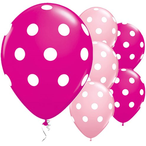 Balloon Matte Latex with Polka Dots - Pink 11''