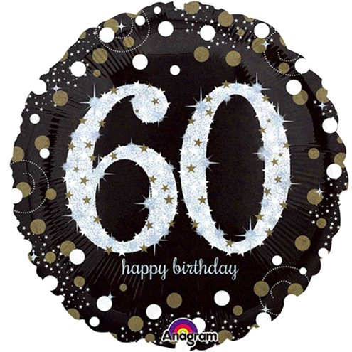 Balloon Foil Round Shape - Gold Sparkling Celebration - Happy 60th Birthday