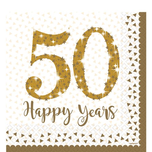 Napkins - Luncheon - 50th Anniversary - Gold Sparkling - 16pk