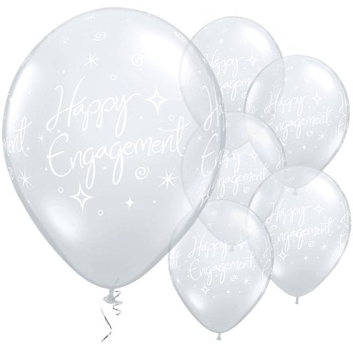 "Happy Engagement Diamond Clear Balloons - 11"" Latex"