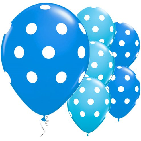Balloon Matte Latex with Polka Dots - Blue 11''