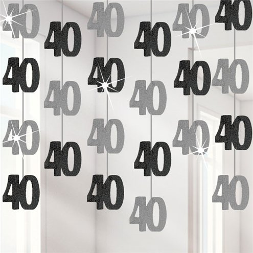 40th Birthday Black Hanging Decorations - 5ft