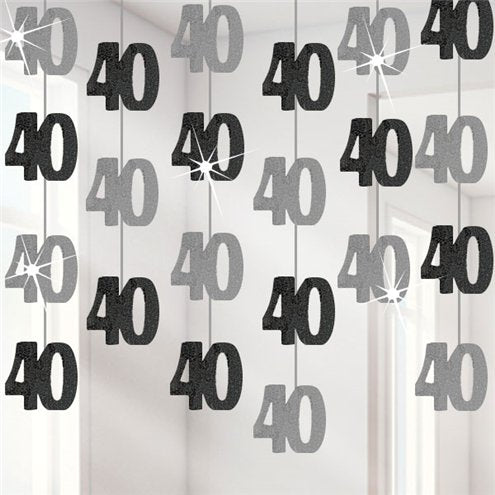 Hanging Decorations - 40th Birthday Black - 5ft