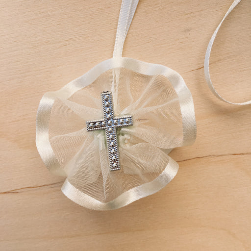 Domna for Girls - Ivory Organza with Silver Cross