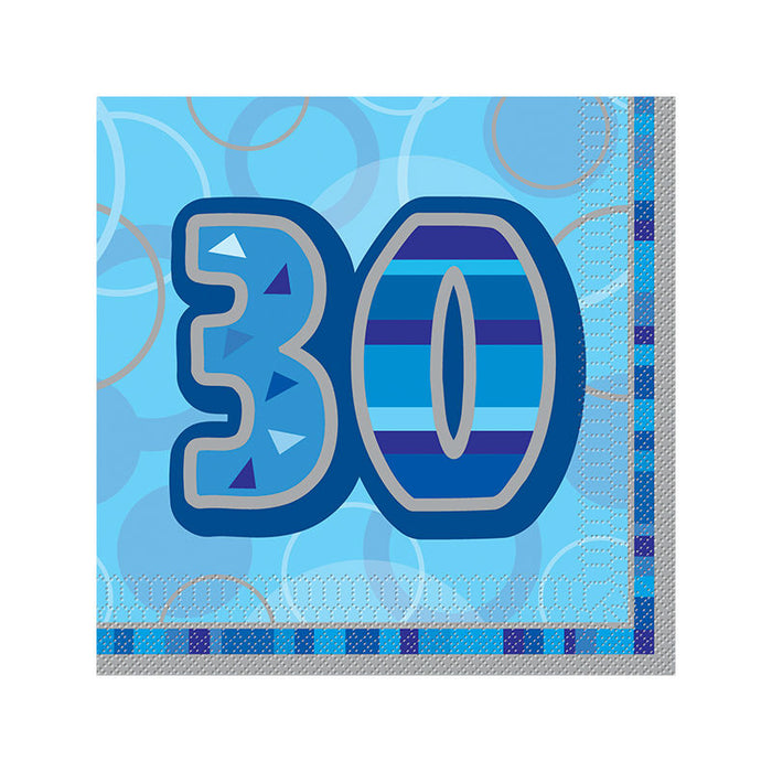 30th Birthday Blue Luncheon Napkins - 3Ply Paper