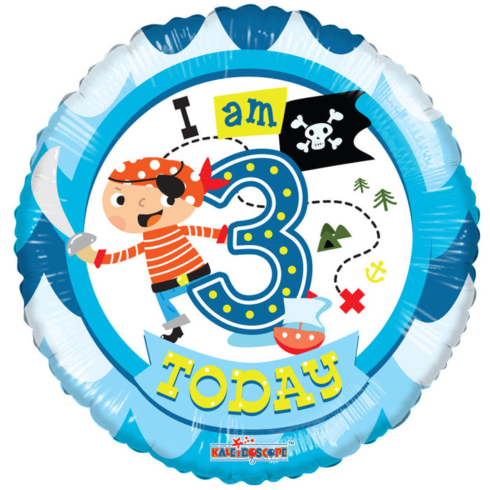 Balloon Foil Round Shape - Pirate Theme Boy - Age3 18''