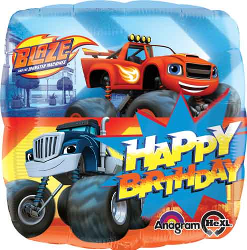 "Blaze Happy Birthday Square Balloon - 18"" Foil"